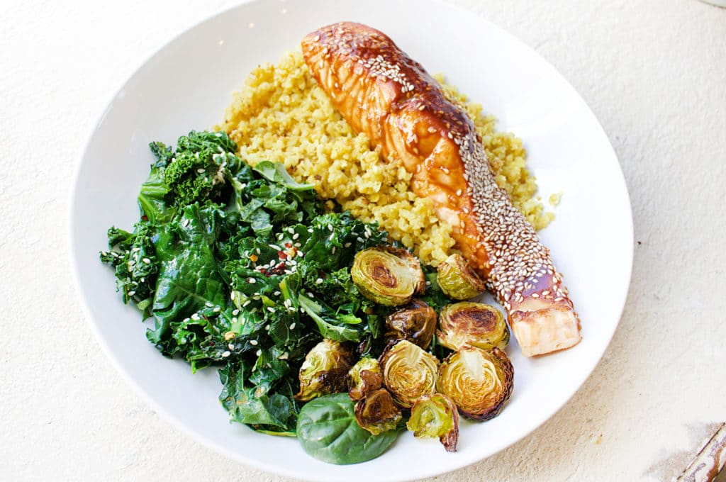 Salmon with Sauteed Greens and Cauliflower Rice