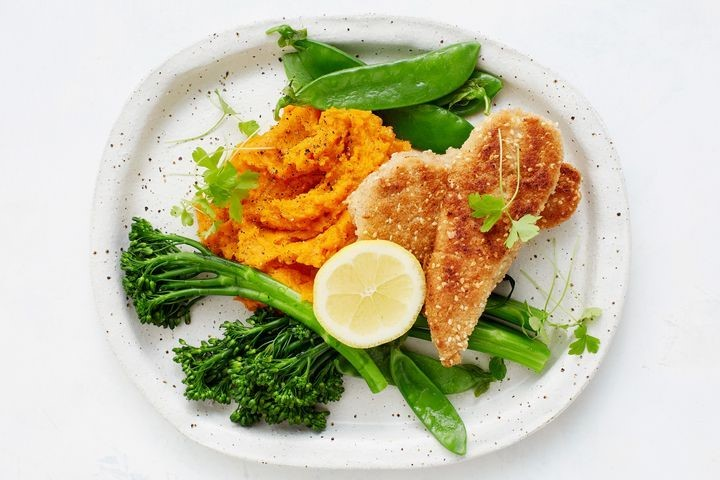 Low Carb Chicken 'Schnitzel' with greens and mash